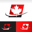 Swoosh CanadMaple Leaf Icon — Stock Vector #32596201