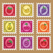 Vintage Fruit Stamps — Stockvektor