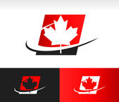 Swoosh Canada Maple Leaf Icon — Stock Vector