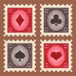 Set of Poker Stamps — Stock Vector