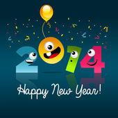 Happy New Year 2014 Cartoon — Stock Vector