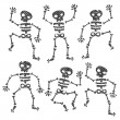 Grunge Dancing Skeletons — Stock Vector