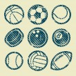 Grunge Sport Balls Stamp Icons — Stock Vector #32930629