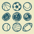 Grunge Sport Balls Stamp Icons — Stock Vector