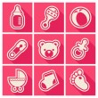 Stock Vector: Baby Shower Square Icons
