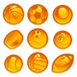 Gold Sport Ball Icons — Stock Vector