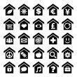 Home Icons with Symbols — Stock Vector