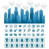 Blue Social Media City — Stock Vector