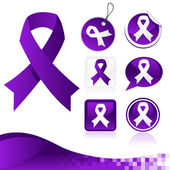 Purple Awareness Ribbons Kit — Vettoriale Stock
