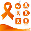 Stock Vector: Orange Awareness Ribbons Kit