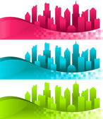 Silhouette Cities and Banners — Stock Vector