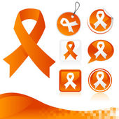 Orange Awareness Ribbons Kit — Stock Vector