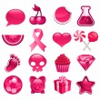 Various Pink Icons — Stock Vector