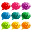 Colorful Pixel Speech Bubbles — Stock Vector