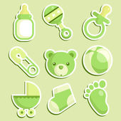 Green Baby Shower Icons — Stock Vector