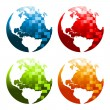 Pixel Planet Earth Icons — Stock Vector #39987131