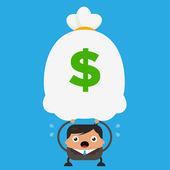 Business Man Holding Big Heavy Bag of Money — Stock Vector