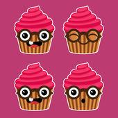 Cartoon Cupcakes with Eyeglasses — Stock Vector
