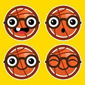Cartoon Basketballs with Eyeglasses — Stock Vector