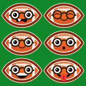 Cartoon American Footballs with Eyeglasses — Wektor stockowy