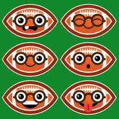 Cartoon American Footballs with Eyeglasses — Stock Vector