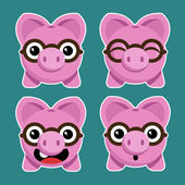 Cartoon Piggy Banks with Eyeglasses — Stock Vector