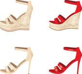 Kvinnligt skor set — Stockvektor