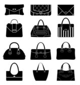 Black icons female bags — Stock Vector