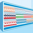 Supermarket shelves with dairy products — Stock Vector