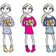 Hand drawn girls with books — Stock Vector