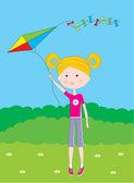 Cartoon the girl with a kite — Stock Vector
