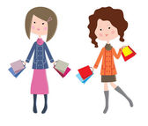 Two cartoon women with packages — Stockvektor