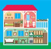 дом в разрезе — Cтоковый вектор