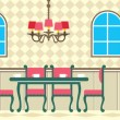 Stock Vector: Dining room and kitchen