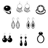 Set of black icons with jewelry — Stock Vector