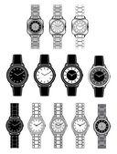 Set van zwarte iconen met de afbeelding van een vrouwelijke horloge — Stockvector