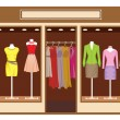Boutique. Women's clothing shop — Stock Vector
