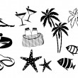 Stock Vector: Set of icons of summer holiday on the coast
