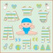 Scrapbook elements with baby clothes — Stock Vector
