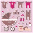 Stock Vector: Set of baby girl icons