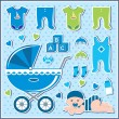 Set of baby boy icons — Stock Vector #15331511