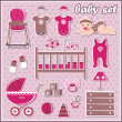 Set of baby girl icons — Stock Vector #15331513