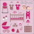 Set of baby girl icons — Stock Vector