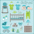 Stock Vector: Set of baby boy icons