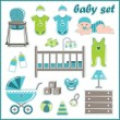 Stock Vector: Scrapbook elements with baby boy things
