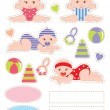 Stock Vector: Scrapbook elements with baby