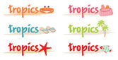 Resto simboli nei tropici — Vettoriale Stock