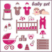Scrapbook elements with baby girl things — Stock Vector