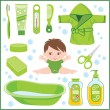 Set of children's things for bathing — Stock Vector #16214747