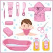 Set of children's things for bathing — Stock Vector #16214749